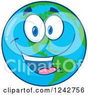 Clipart Of A Happy Smiling Earth Globe Character Royalty Free Vector Illustration by Hit Toon