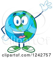 Clipart Of A Happy Smiling Earth Globe Character Waving Royalty Free Vector Illustration