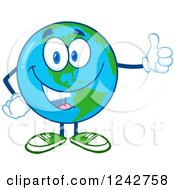 Clipart Of A Happy Smiling Earth Globe Character Giving A Thumb Up Royalty Free Vector Illustration by Hit Toon
