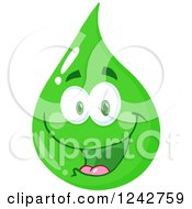 Clipart Of A Happy Smiling Green Eco Water Drop Character Royalty Free Vector Illustration