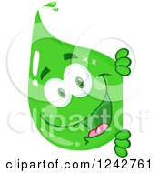 Clipart Of A Happy Green Eco Water Drop Character Looking Around A Sign Royalty Free Vector Illustration by Hit Toon