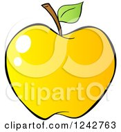 Clipart Of A Gradient Yellow Apple Royalty Free Vector Illustration by Hit Toon