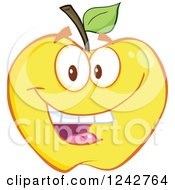 Clipart Of A Happy Yellow Apple Character Royalty Free Vector Illustration by Hit Toon