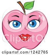 Clipart Of A Pink Lady Apple Character Royalty Free Vector Illustration by Hit Toon