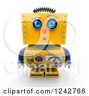 Clipart Of A 3d Amazed Yellow Retro Robot Looking Upwards Royalty Free Illustration