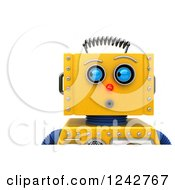 Clipart Of A 3d Closeup Face View Of A Surprised Yellow Retro Robot Looking To The Side Royalty Free Illustration