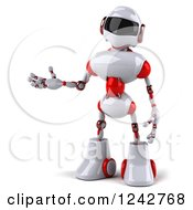 Clipart Of A 3d White And Red Robot Presenting Royalty Free Illustration