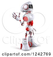 Clipart Of A 3d White And Red Robot Facing Right And Waving Royalty Free Illustration