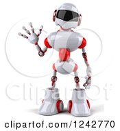 Clipart Of A 3d White And Red Robot Waving Royalty Free Illustration