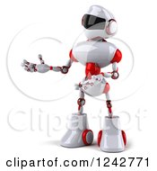 Clipart Of A 3d White And Red Robot Presenting To The Left Royalty Free Illustration