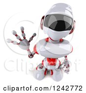 Clipart Of A 3d White And Red Robot Looking Up And Waving Royalty Free Illustration