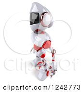 Clipart Of A 3d White And Red Robot Facing Left Royalty Free Illustration