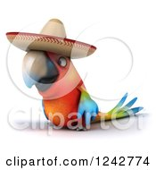 Clipart Of A 3d Mexican Macaw Parrot Wearing A Sombrero Hat Royalty Free Illustration