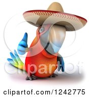 Clipart Of A 3d Thumb Up Mexican Macaw Parrot Wearing A Sombrero Hat Royalty Free Illustration by Julos