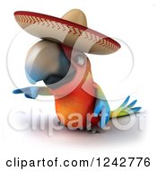 Clipart Of A 3d Pointing Mexican Macaw Parrot Wearing A Sombrero Hat Royalty Free Illustration