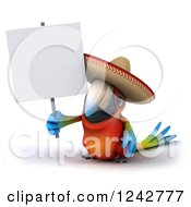 Clipart Of A 3d Mexican Macaw Parrot Wearing A Sombrero Hat And Holding A Sign Royalty Free Illustration