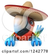 Clipart Of A 3d Mexican Macaw Parrot Wearing A Sombrero Hat Over A Sign Royalty Free Illustration