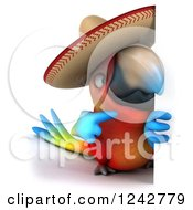 Clipart Of A 3d Mexican Macaw Parrot Wearing A Sombrero Hat Around A Sign Royalty Free Illustration