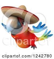 Clipart Of A 3d Flying Mexican Macaw Parrot Wearing A Sombrero Hat Royalty Free Illustration