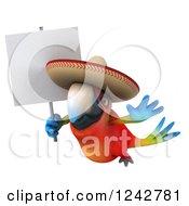 Clipart Of A 3d Flying Mexican Macaw Parrot Wearing A Sombrero Hat And Holding A Sign Royalty Free Illustration