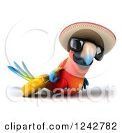 Clipart Of A 3d Traveling Mexican Macaw Parrot Wearing A Sombrero Hat And Sunglasses While Pulling Luggage Royalty Free Illustration