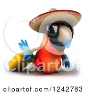 Clipart Of A 3d Traveling Mexican Macaw Parrot Wearing A Sombrero Hat And Sunglasses While Pulling Luggage 2 Royalty Free Illustration