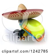 Clipart Of A 3d Mexican Toucan Bird Wearing A Sombrero Royalty Free Illustration