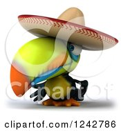 Clipart Of A 3d Mexican Toucan Bird Wearing A Sombrero 2 Royalty Free Illustration
