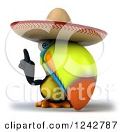 Clipart Of A 3d Mexican Toucan Bird Pointing Up And Wearing A Sombrero Royalty Free Illustration