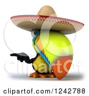 Clipart Of A 3d Mexican Toucan Bird Pointing Wearing A Sombrero Royalty Free Illustration