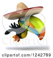 Clipart Of A 3d Mexican Toucan Bird Holding A Thumb Up And Wearing A Sombrero Royalty Free Illustration