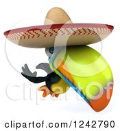 Clipart Of A 3d Mexican Toucan Bird Flying And Wearing A Sombrero 2 Royalty Free Illustration