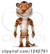 Clipart Of A 3d Happy Tiger Character Standing Royalty Free Illustration