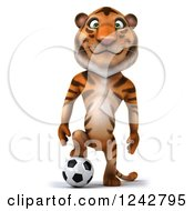 Clipart Of A 3d Happy Tiger Character Resting A Foot On A Soccer Ball Royalty Free Illustration