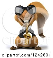 Clipart Of A 3d Musician Squirrel Wearing Shades And Playing A Saxophone Royalty Free Illustration