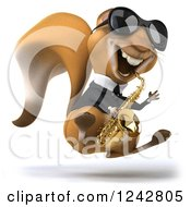 Clipart Of A 3d Musician Squirrel Wearing Shades Hopping And Playing A Saxophone 2 Royalty Free Illustration