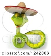 Clipart Of A 3d Green Mexican Snake Wearing A Sombrero Hat Royalty Free Illustration