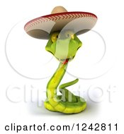 Clipart Of A 3d Green Mexican Snake Wearing A Sombrero Hat 6 Royalty Free Illustration by Julos