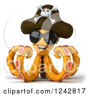 Clipart Of A 3d Happy Orange Octopus Wearing A Pirate Hat And Sunglasses Royalty Free Illustration by Julos