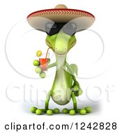 Clipart Of A 3d Mexican Gecko Drinking Tea And Wearing A Sombrero Hat Royalty Free Illustration