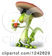 Clipart Of A 3d Mexican Gecko Drinking Tea And Wearing A Sombrero Hat 2 Royalty Free Illustration by Julos