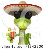 Clipart Of A 3d Mexican Gecko Drinking Tea And Wearing A Sombrero Hat 3 Royalty Free Illustration