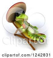 Clipart Of A 3d Mexican Gecko Drinking Tea And Wearing A Sombrero Hat In A Chaise Lounge Royalty Free Illustration