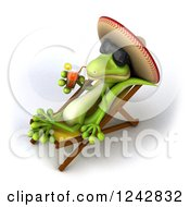 Clipart Of A 3d Mexican Gecko Drinking Tea And Wearing A Sombrero Hat In A Chaise Lounge 2 Royalty Free Illustration