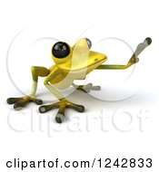 Clipart Of A 3d Yellow And Green Ribbit Frog Reaching 2 Royalty Free Illustration