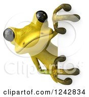 Clipart Of A 3d Yellow And Green Ribbit Frog Looking Around A Sign Royalty Free Illustration by Julos