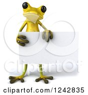 Clipart Of A 3d Yellow And Green Ribbit Frog Holding A Blank Sign Royalty Free Illustration