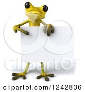 Clipart Of A 3d Yellow And Green Ribbit Frog Holding And Pointing To A Blank Sign Royalty Free Illustration