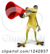 Clipart Of A 3d Yellow And Green Ribbit Frog Announcing With A Megaphone Royalty Free Illustration