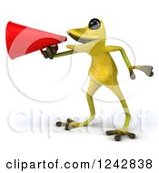 Clipart Of A 3d Yellow And Green Ribbit Frog Announcing With A Megaphone 2 Royalty Free Illustration